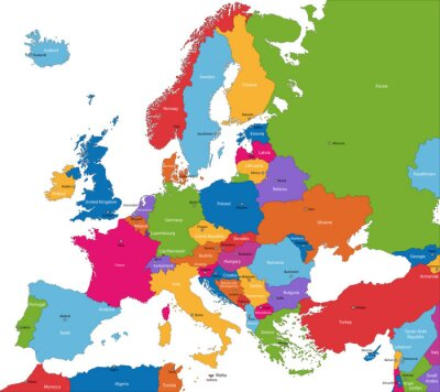 Karte Von Europa Mit Städten.Bild Bunte Europa Karte Mit Ländern Und Städten
