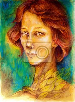 Bunte Frau Porträt, mit dem roten Haar, helle goldene Blätter