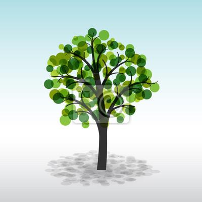 Bild Bunte grünen Baum auf einem hellen Hintergrund