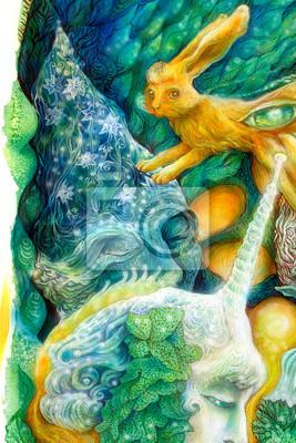 Bunte helle Elfen Kreaturen in einer Fee Reich, schön
