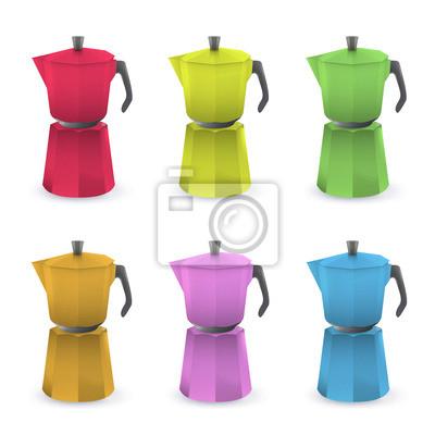 Bild Bunte Kaffeekanne. Vector design