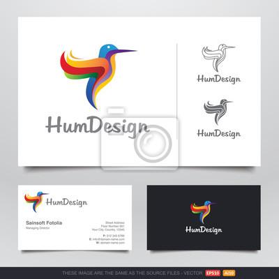 Bild Bunte Kolibri Logo Und Visitenkarten Design