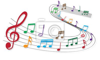 Bunte musiknoten leinwandbilder • bilder Musikschule, Violinschlüssel,  Punktzahl | myloview.de