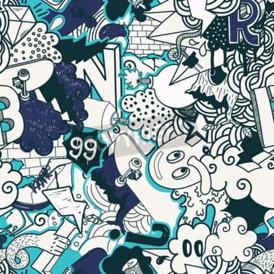 Bild Bunte nahtlose Muster. Graffiti-Doodles Street Art Illustration in blauen Farben. Zusammensetzung bizarre Elemente und Zeichen für Skateboard, Street Bekleidung, Streetwear, Tapeten Textilgewebe