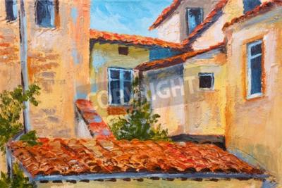 Bild Bunte Ölgemälde - Dächer der Häuser, europäische Straße, Kunst Impressionismus