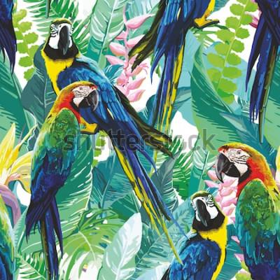 Bild bunte Papageien und exotische Blumen