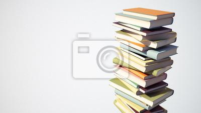 Bunte Stapel Bücher mit Beschneidungspfad