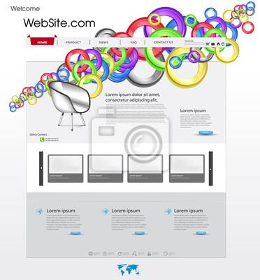 Bunte Website-Vorlage mit Kreis und Galerie