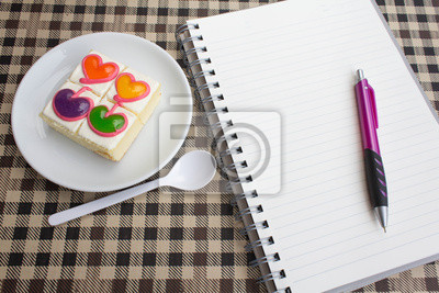 Bild bunten sweet heart Kaffee Kuchen für gesundes und Job Zeit