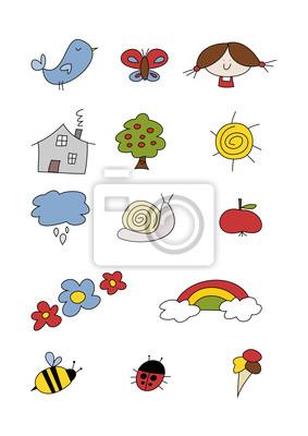 Buntes Clipart Set Haus Tiere Und Garten Leinwandbilder Bilder