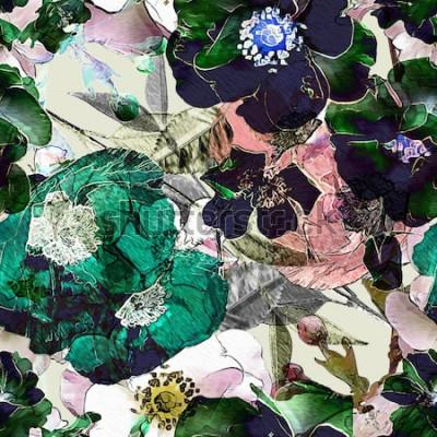 Bild buntes nahtloses mit Blumenmuster des Kunstweinlesestiftes mit schwarzen Rosen und grünen Mohnblumen auf hellem Hintergrund. Doppelbelichtung und Bokeh-Effekt