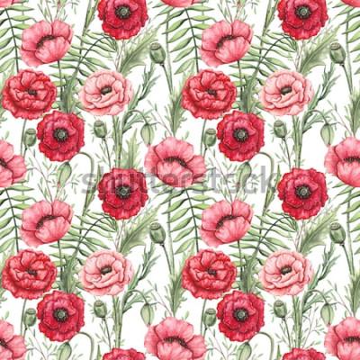 Bild Buntes nahtloses Muster von Aquarell-Mohnblumen und -blättern