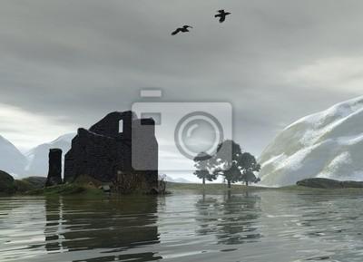 Burgruine auf einem schottischen Loch