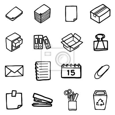 Buro Objekte Oder Symbole Gesetzt Cartoon Vektor Und Illustration