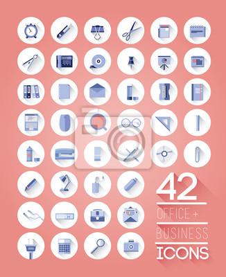 Büro-und Business-Symbole auf weißen Kreise