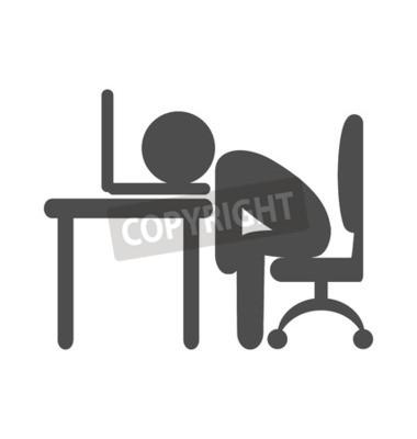 Business Buro Mude Arbeiter Flachen Icon Piktogramm Isoliert