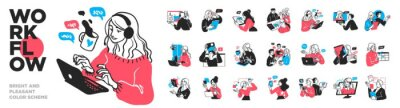 Bild Business Concept illustrations. Mega set. Collection of scenes with men and women taking part in business activities. Vector illustration