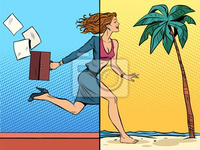 Business Frau Träumt Von Urlaub Auf See Leinwandbilder Bilder