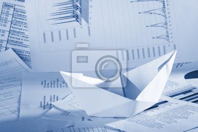 Bild Business-Konzept-, Papier-Boot und Dokumente