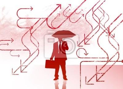 Bild Business-Mann mit Regenschirm
