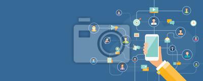 Bild Business-Marketing-Online-Verbindung auf Mobilkonzept