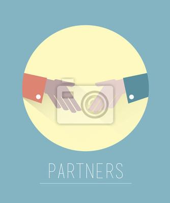 Business-Partnerschaft-Handshake-Vektor auf blau