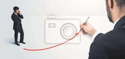 Bild Business-Person Blick auf Linie mit der Hand hergestellt