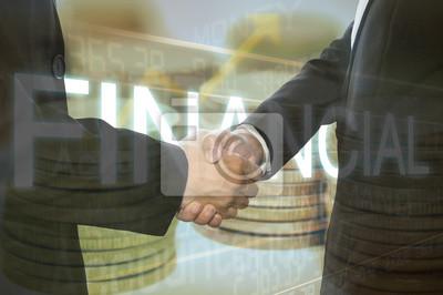 Bild Business schütteln Hand auf Finacial Graph Hintergrund.