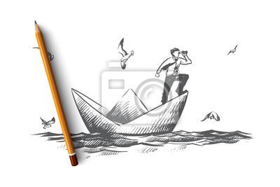 Bild Business-Vision-Konzept. Hand gezeichneter lokalisierter Vektor.