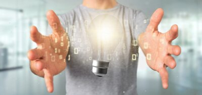 Bild Businessman holding a bulb lamp idea concept with data all around 3d rendering