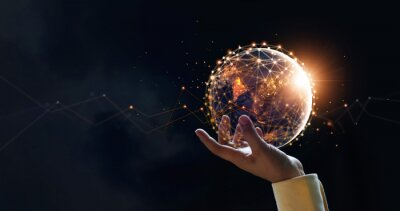 Bild .Businessman holding night earth and global networking connection and data exchanges, global communication network concept, Elements of this image furnished by NASA.