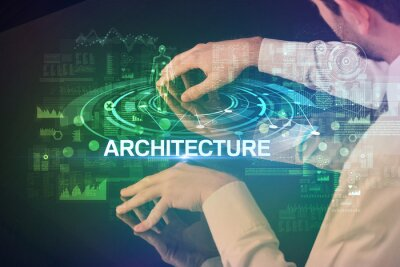 Businessman touching huge display with ARCHITECTURE inscription, modern technology concept