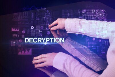 Businessman touching huge display with DECRYPTION inscription, modern technology concept