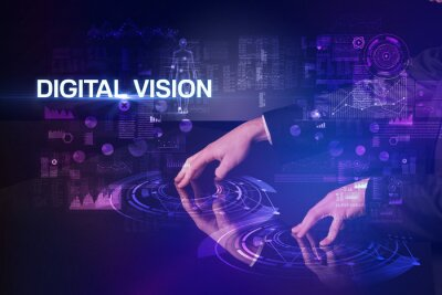 Businessman touching huge display with DIGITAL VISION inscription, modern technology concept