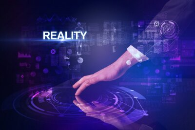 Businessman touching huge display with REALITY inscription, modern technology concept