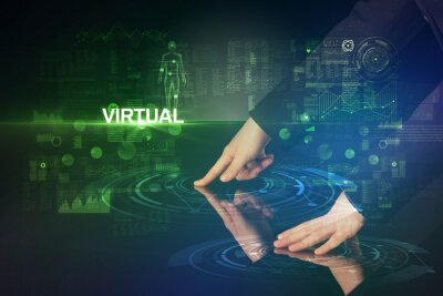 Businessman touching huge display with VIRTUAL inscription, modern technology concept