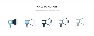 Bild call to action icon in different style vector illustration. two colored and black call to action vector icons designed in filled, outline, line and stroke style can be used for web, mobile, ui