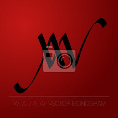 Calligraphic monogram - A. W.