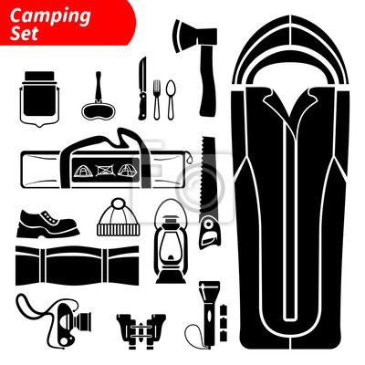 Camping Icons gesetzt. Silhouette isoliert Vektor-Icons gesetzt