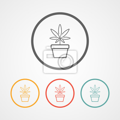 Cannabis-strich-logo mit verschiedenen farben leinwandbilder ...