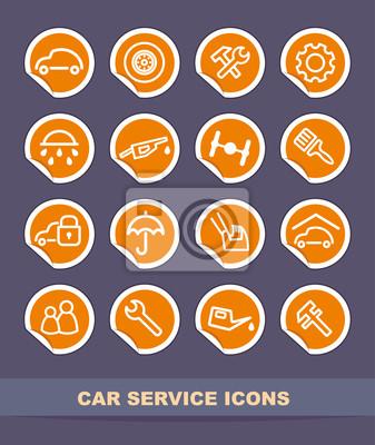 Car-Service-Icons auf Aufklebern