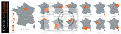 Bild Carte de France / 13 régions und ausserhalb der départements (un tracé autonome par zone)