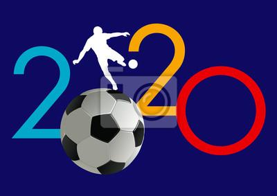 Carte de voeux 2020 sur le concept du football avec un ballon à la place du zéro pour présenter un événement sportif ou une compétition.