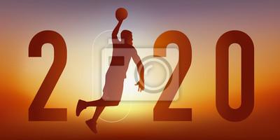 Carte de vœux 2020 sur le thème du sport, avec un joueur de basket, saute le bras tendu pour marquer un panier.