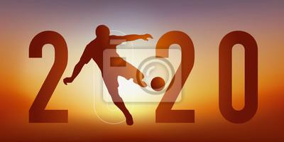 Carte de vœux 2020 sur le thème du sport, avec un joueur de football, qui frappe la balle du pied pour marquer un but.