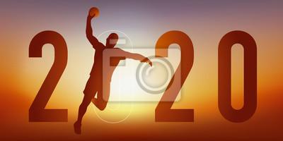 Carte de vœux 2020 sur le thème du sport, avec un joueur de handball en pleine action, qui tire en extension pour marquer un but