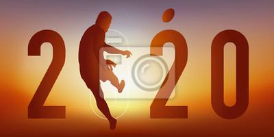Carte de vœux 2020 sur le thème du sport, avec un joueur de rugby en pleine action, qui transforme un essais en tirant entre les poteaux