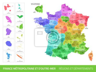 Bild Carte des Départements et des Régions de France