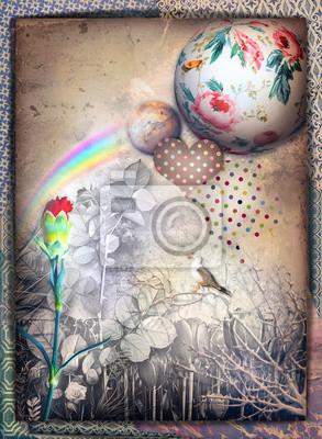 Cartolina weinlese, vecchia maniera con garofano rosso arcobaleno, colomba e cuore ein pois
