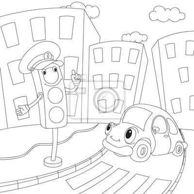 Cartoon Auto Und Ampeln Malbuch Fur Kinder Leinwandbilder Bilder